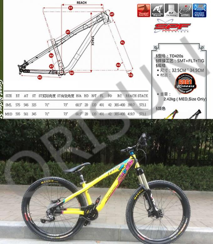 Slope Freestyle Dirt Jump Bike Frame Yellow Color Trail / Am Riding Style