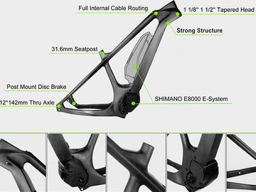 China 29er Mid Drive Electric Carbon Bike Frame Glossy Surface With Disc Brake distributor